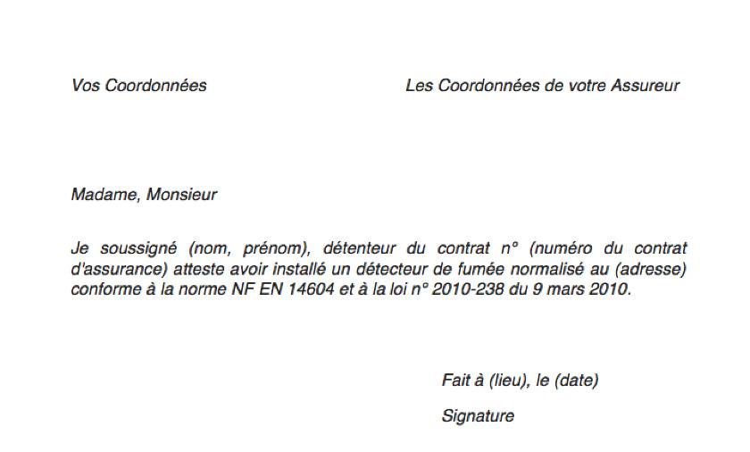 formulaire de certificat d'installation du détecteur de fumée