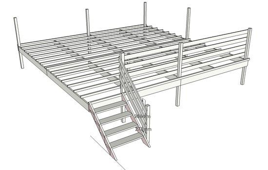 Plan de terrasse en bois for Plan d une terrasse en bois sur pilotis