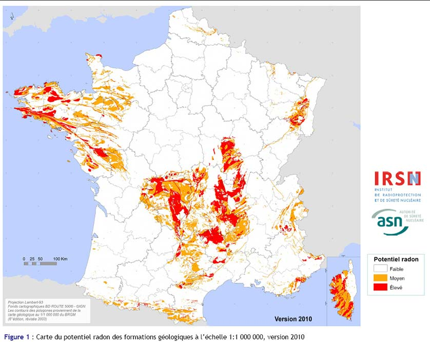 carte risque radon sol