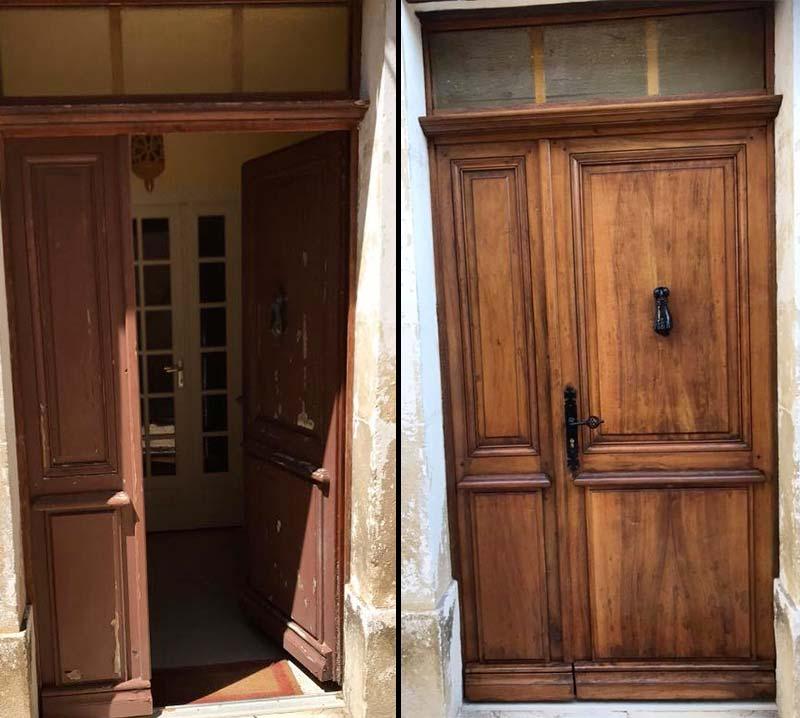 rénovation porte entrée bois